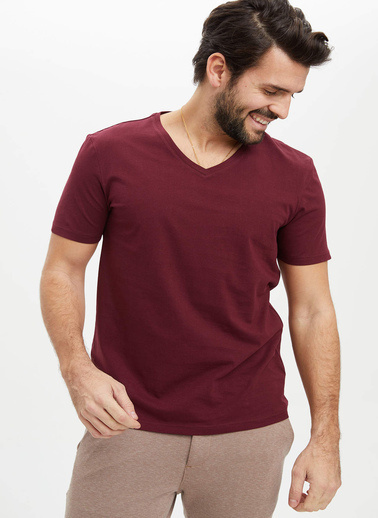 DeFacto Basic Slim Fit T-Shirt Bordo